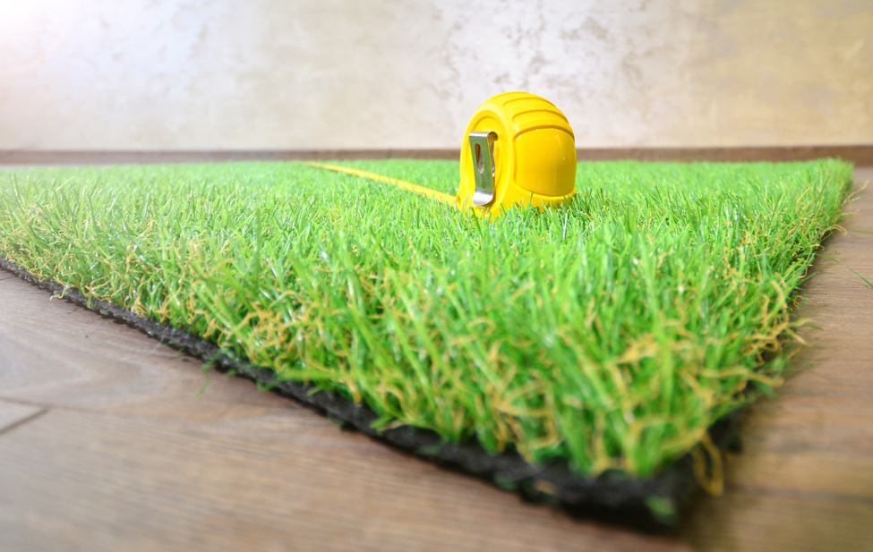 tape measure in the artificial grass